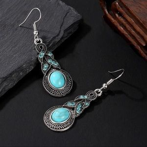 NEW Natural Stone Silver Earrings Turquoise
